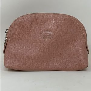 Longchamp Pink Pebbled Leather Cosmetic Bag